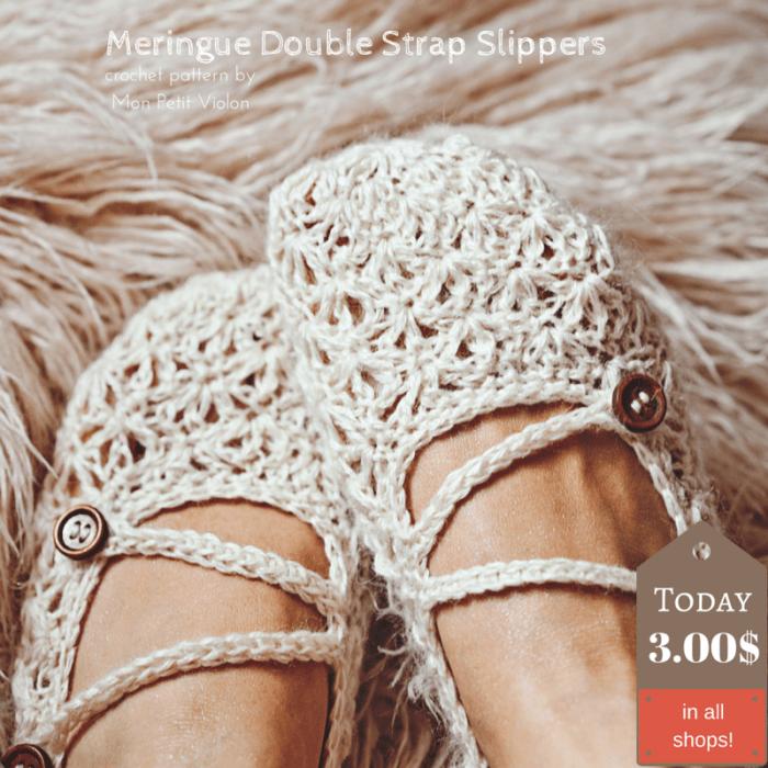Meringue Double Strap Slippers, crochet pattern by Mon Petit Violon.