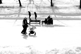 Family of skaters on ice