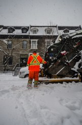 Bin man in the snow