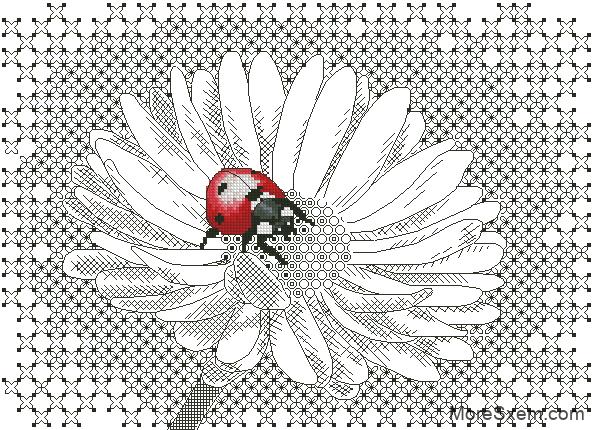 Схема вышивки крестиком божья коровка и ромашка