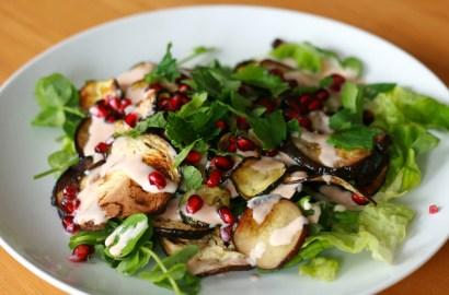 Aubergine, courgette and pomegranate salad
