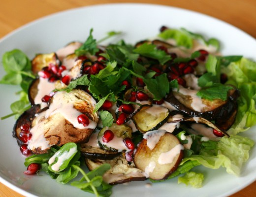 Aubergine, courgette and pomegranate salad