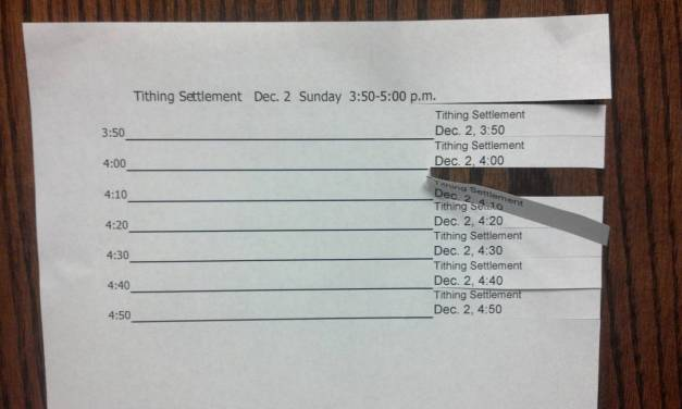 Tithing Settlement Tear-Off Schedule