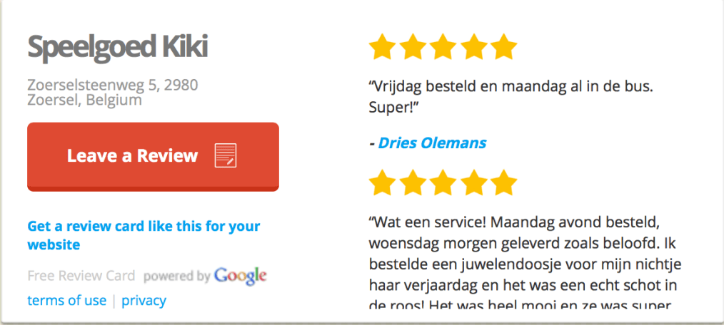 GooglePLus reviews tonen op website