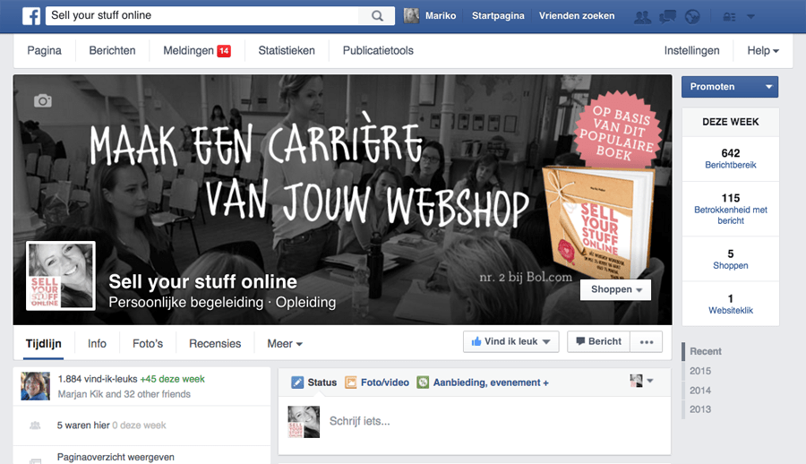 voorbeeld Facebookpage Sell your stuff online