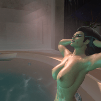 Sindel loves to relax in the pool after guys have spilled thier liquids on her big boobs all day long