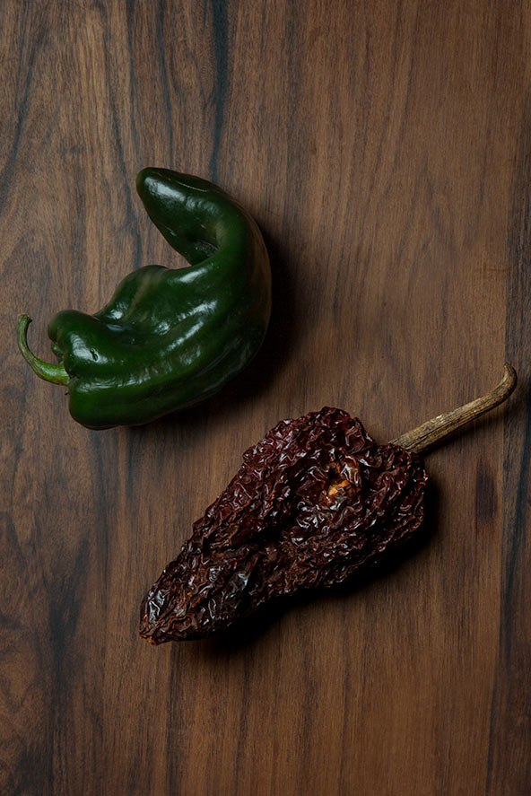Ancho and poblano chilies.