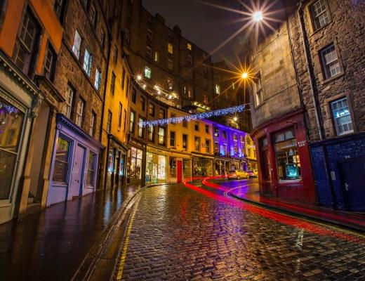 Victoria Street lights at night, Old town, Edinburgh, Scotland