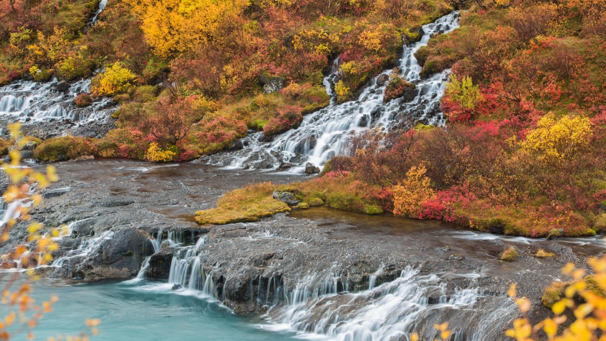 Photographing Hraunfossar waterfall, West Iceland
