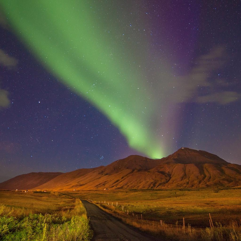 Siglufjörður, North Iceland, 14mm. f/2.8 at 20s, ISO 1250.