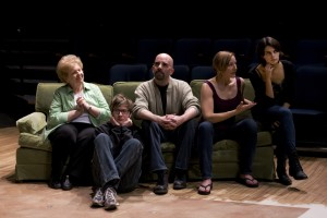 (l to r): Barbara Jorgensen, Maximillian Santucci, Alex Carmichal, Katrina Kittle, Corinne Engber in 100 Saints You Should Know (Photo by Craig Roberts)