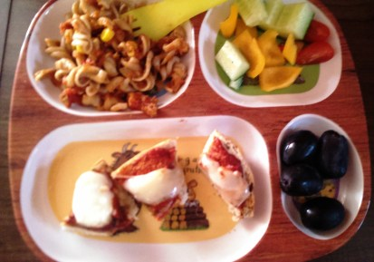 Pasta with veg, bagel cheese toasties, peppers, cucumbers and one of Mushroom's favourites... Olives.