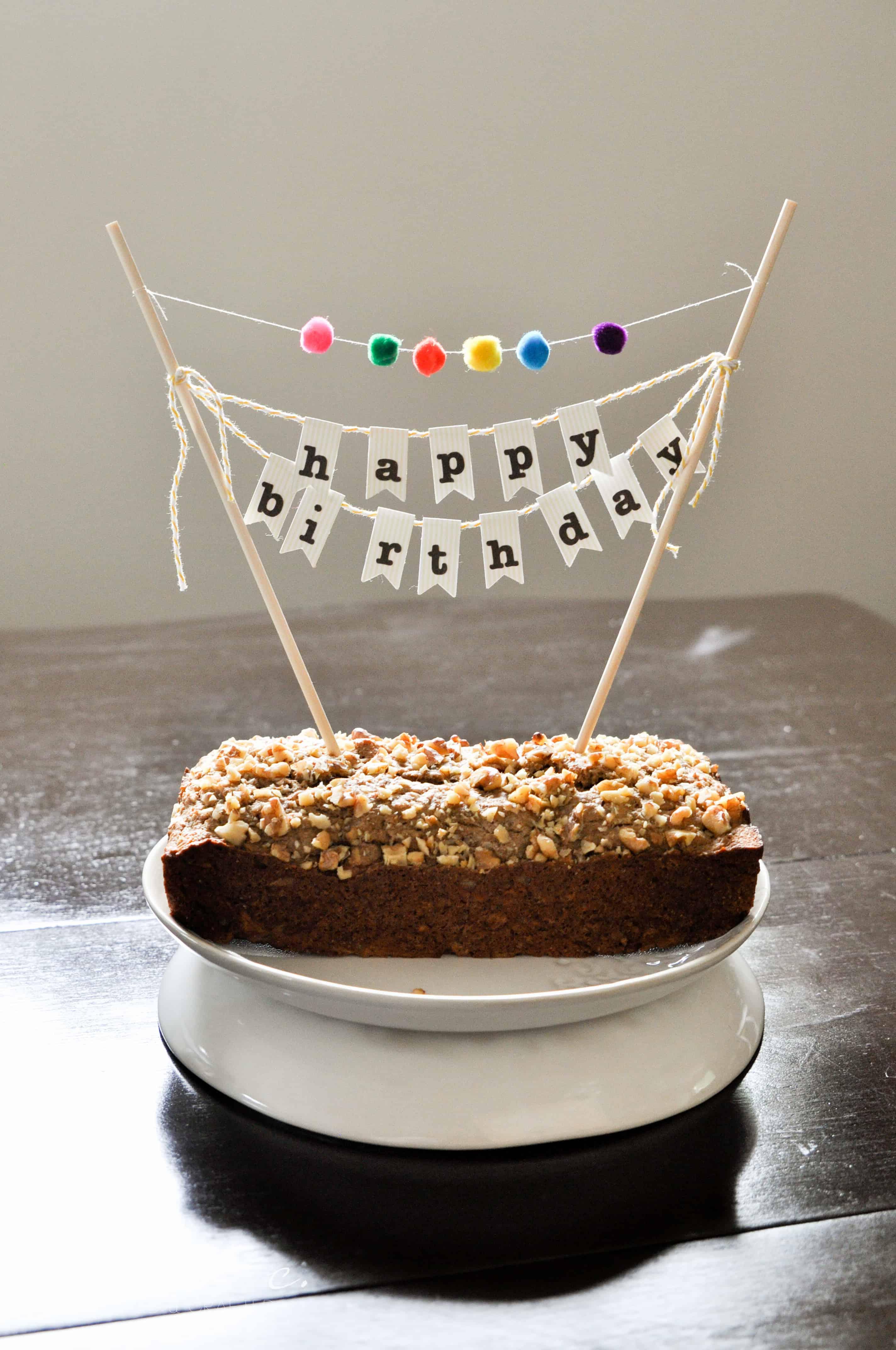 diy birthday cake banner with pom