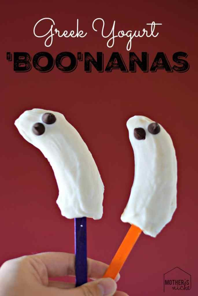 Make these Halloween BOOnanas using greek yogurt and they are healthy enough to eat for breakfast!
