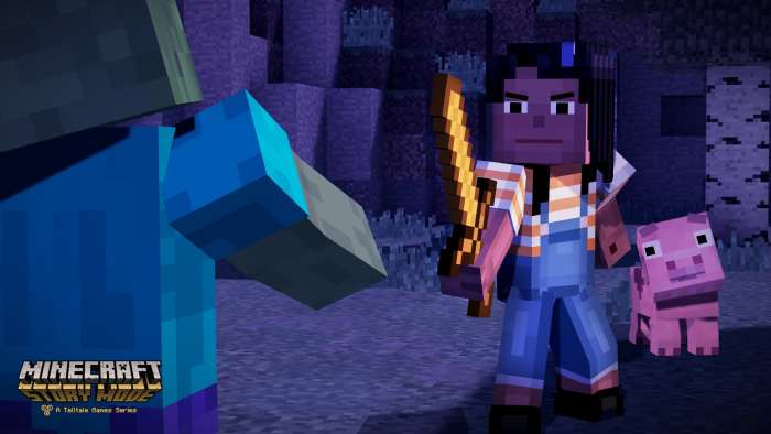 Fending off zombies, a classic Minecraft situation