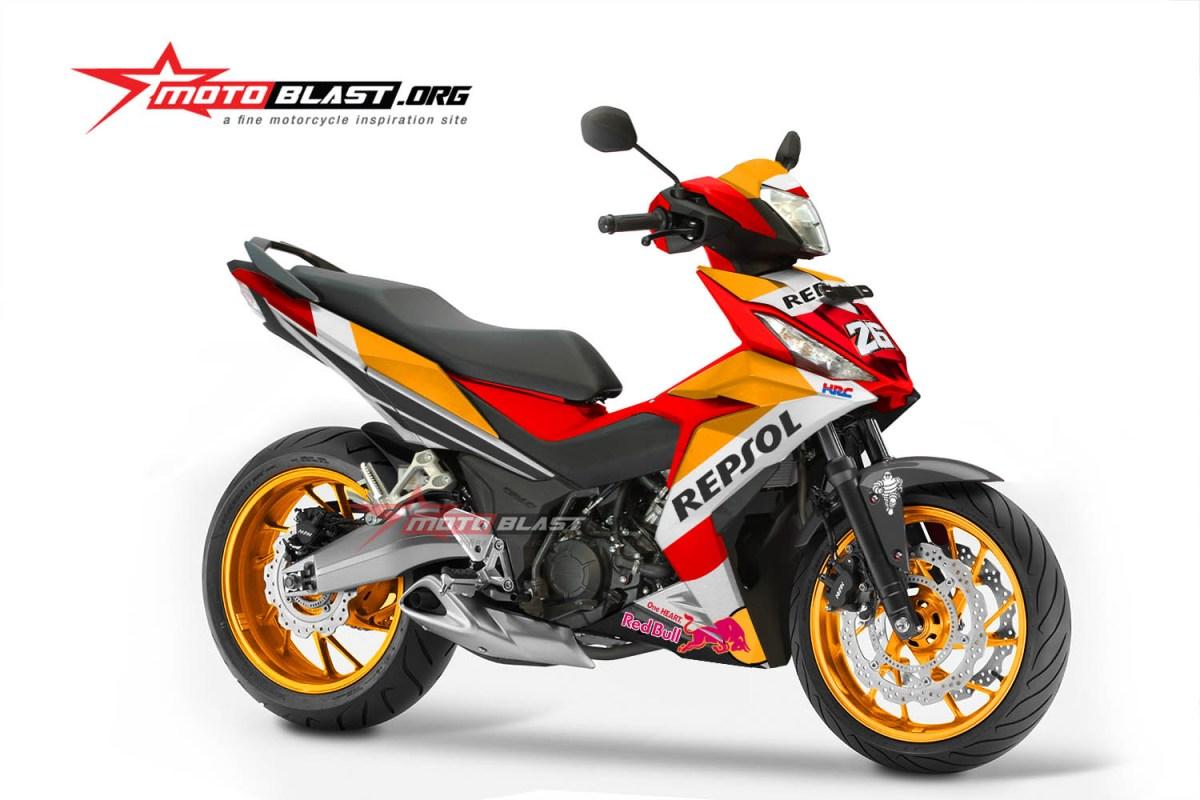 modifikasi dan graphic kit honda all new honda supra gtr150 repsol edition motoblast