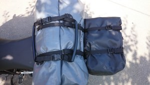As an example we added a tail bag of about 12 liters on the hard rack. Larger bags can be loaded as well according personal needs. However, do always consider the load limits set by the manufacturer, usually about 5 kgs.