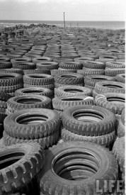 Jeep Willys Tires Salvage Yard Okinawa 1949