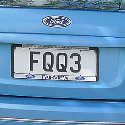 I hope FQQ3 doesn't come out sounding really rude. I have no idea what this vanity plate means!