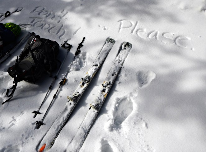 Please don't steal my race skis. I can't afford them as is.