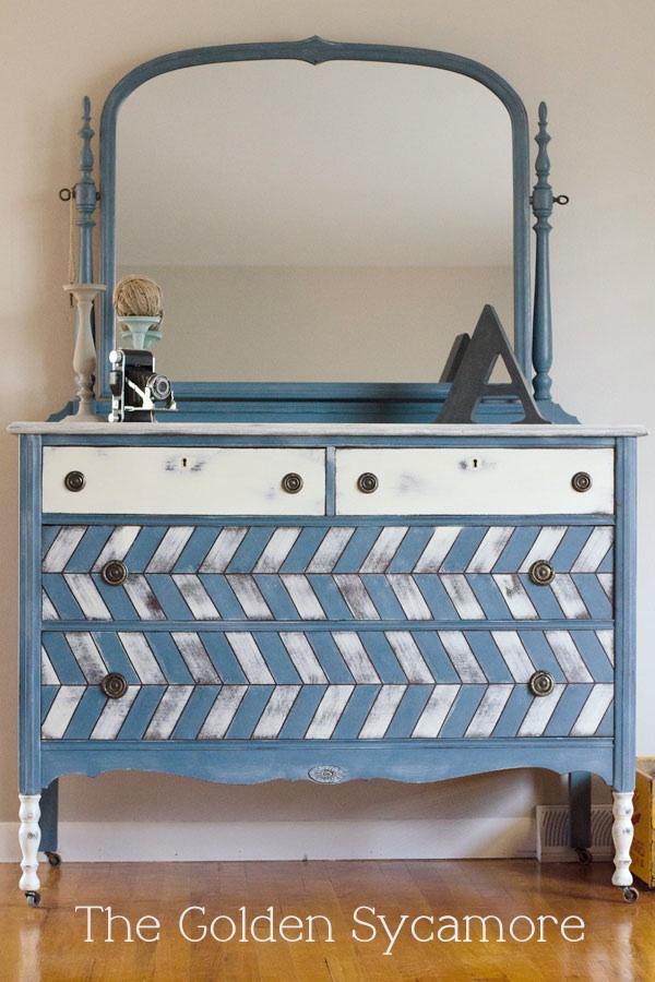 styled blue herringbone dresser