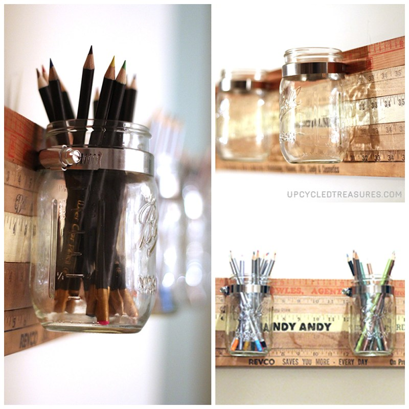 Looking for a creative storage solution? Check out how to create a mason jar wall storage using vintage yardsticks! UpcycledTreasures.com