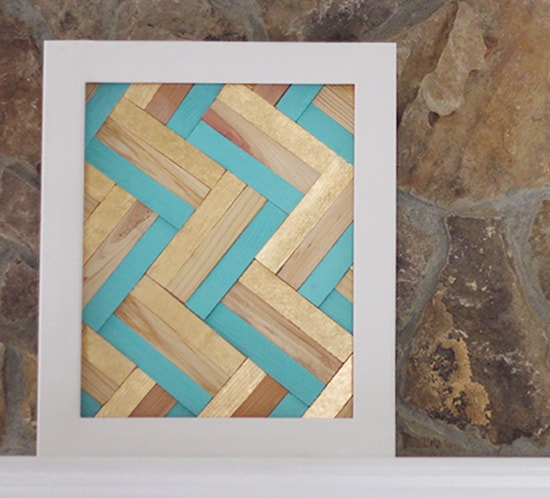 diy gilded wall art using wood shims for office mountainmodernlife.com