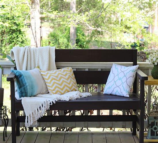 diy garden bench on porch placemat pillows mountainmodernlife.com