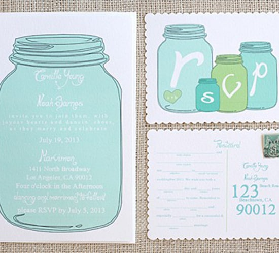 free mason jar wedding invite printable