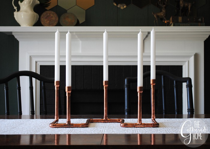 diy copper pipe candelabra - thegatheredhome