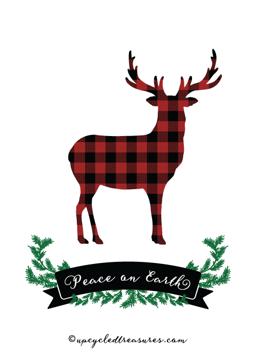 5x7 Plaid Deer Peace on Earth Printable Card - For Personal Use Only - upcycledtreasures.com-01
