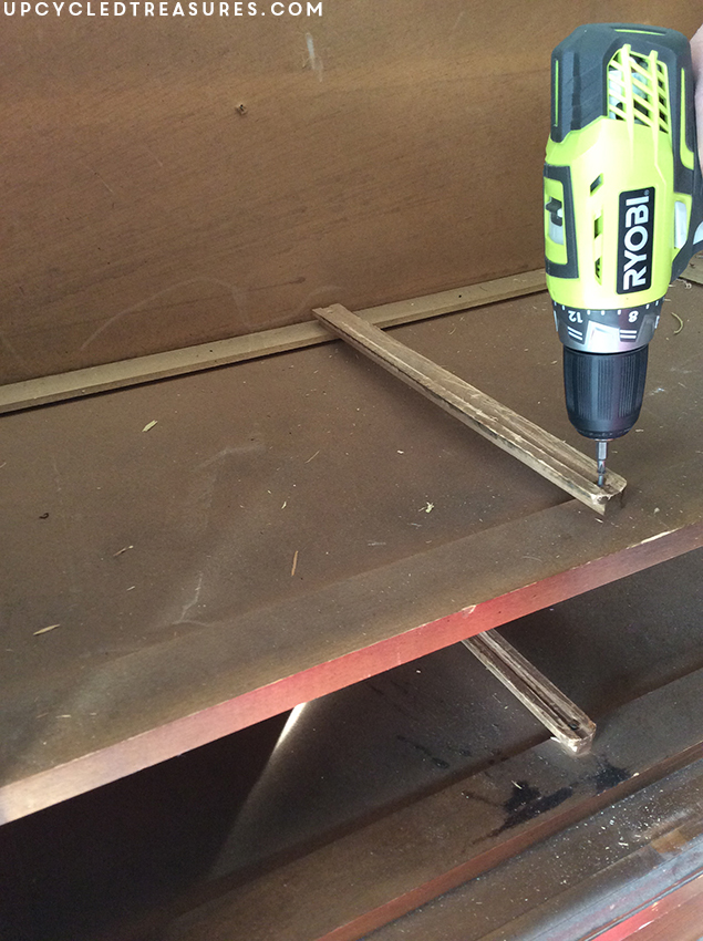 removing-drawer-slides-inside-armoire-with-ryobi-drill-upcycledtreasures
