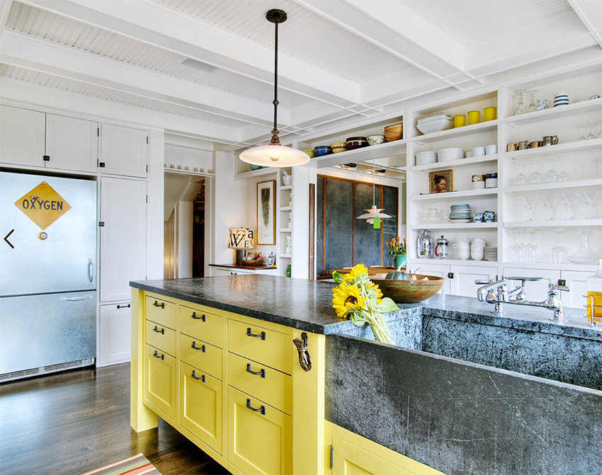 Beautiful yellow island bench in white kitchen