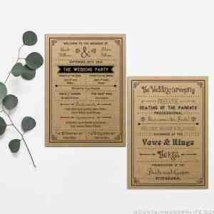 Printable Wedding Program | MountainModernLife.com