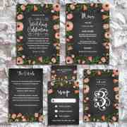 Printable DIY Whimsical Floral Chalkboard Wedding Set