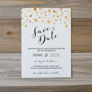 Modern Gold DIY Save the Date Template - without border