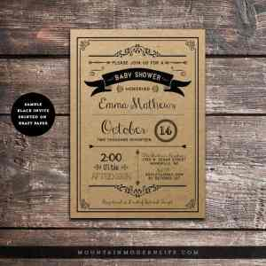 rustic-baby-shower-invitation-printed-on-kraft-paper-mountainmodernlife-com