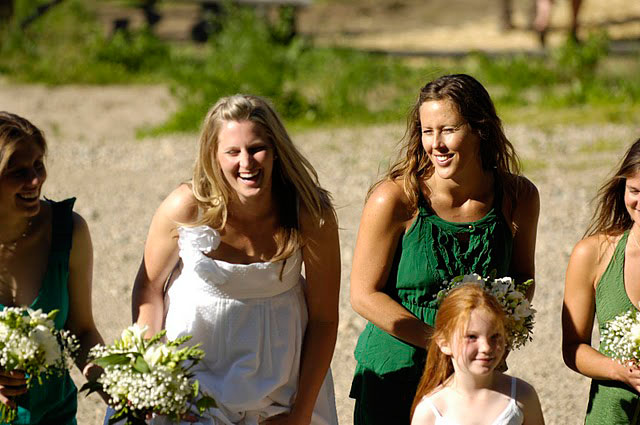 mountain bride laughing