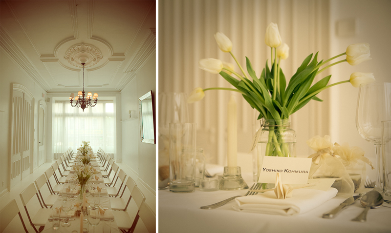 elegant white tablescape with ivory tulips
