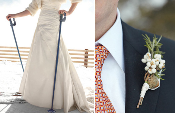 skiing bride and groom with winter boutonniere
