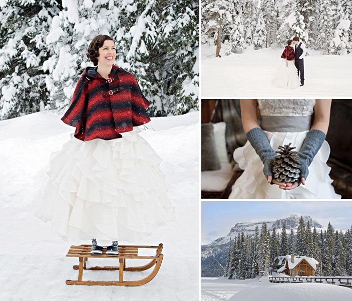 winter mountain wedding styled shoot