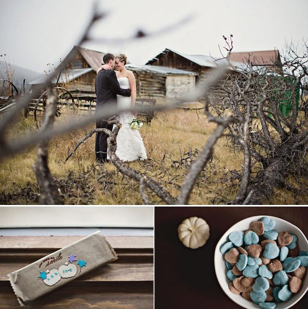 rustic colorado wedding with brown and blue details