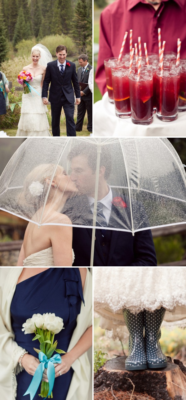 Bride and Groom under a Clear Umbrella on their wedding day