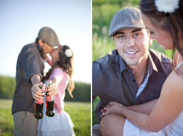 engaged couple kissing and holding coca-colas