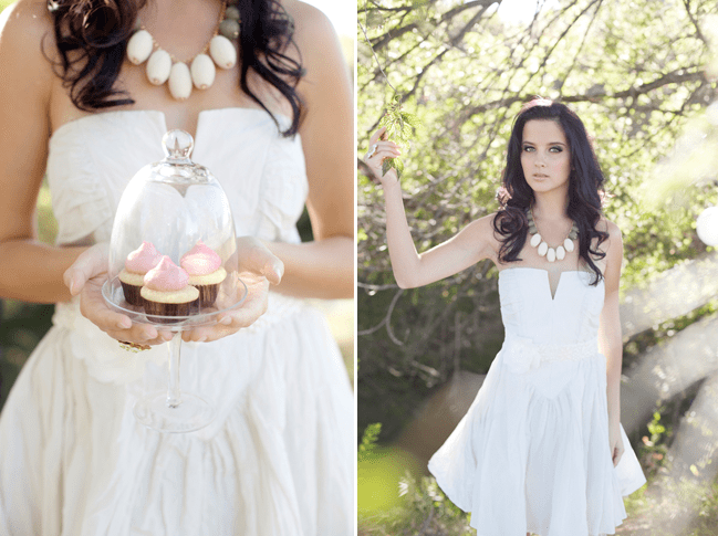a bride holds cupcakes