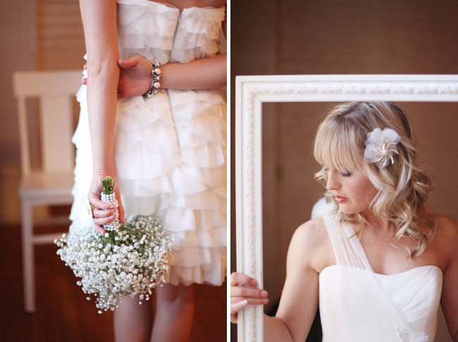 short wedding dress with babys breath bouquet