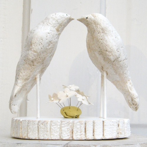 white dove wedding cake topper