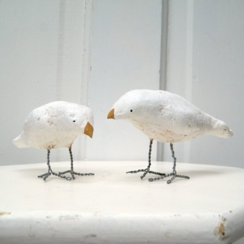 white sparrow wedding cake topper