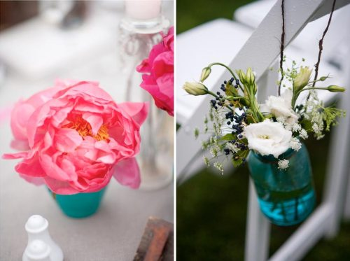 Pink peonies and blue mason jars