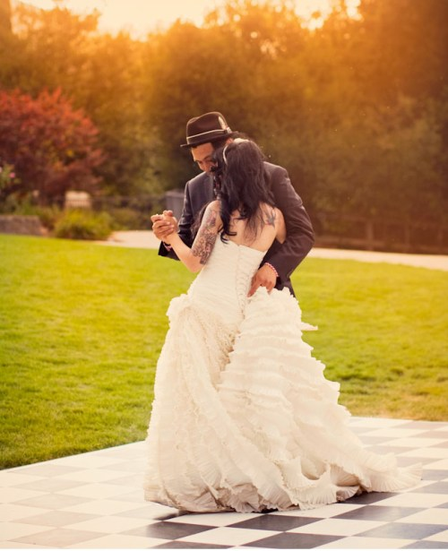 first dance at an outdoor wedding